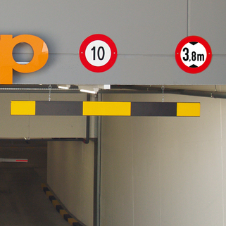 Height Restrictor Barrier Bar (Aluminium) Reflective Panels comes with 2 meters of chain.