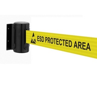 Tensabarrier® Wall Mounted Barrier ESD Heavy Duty & 2.3m tape - Standard Tape End And Wall Clip Provided.