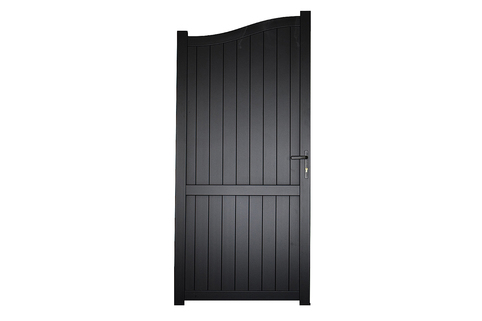 Side Gate & Pedestrian gate in Aluminium with vertical solid infill & Bell curved top - Maintenance free - Choice of colours and dimensions
