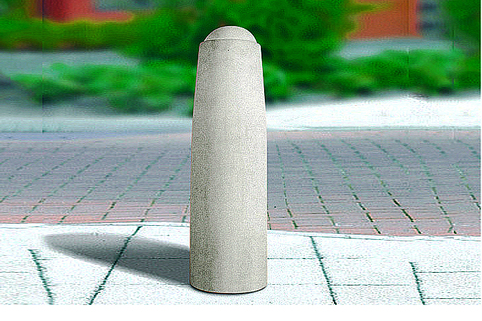"Concrete Bollard ""Wilmslow"" Round Fixed (Smooth Grey) from Marshalls. Low Maintenance"