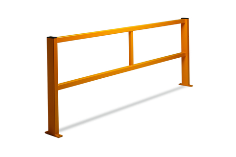Railing for protection around machinery or defining walkways in the warehouse