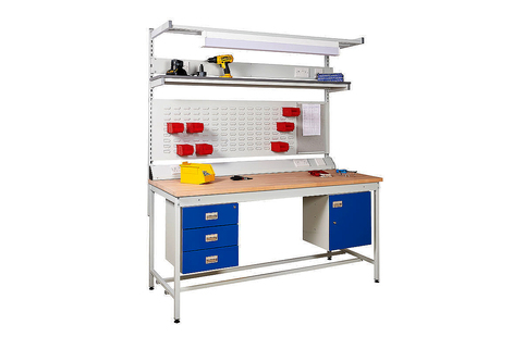 Square tube workbench  beech top   accessories  800x800